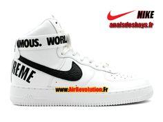 Boutique Officiel Nike X Supreme Air Force 1 High GS Femme/Enfant Blanc/Noir