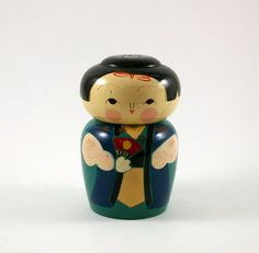 Vintage Lacquered Wood Kokeshi Salt or Pepper Shaker - Lacquerware