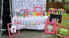 Girly Art Party With So Many Cute Ideas via Kara's Party Ideas | KarasPartyIdeas.com #Artist #Painting #Bright #Party #Ideas #Supplies (5)