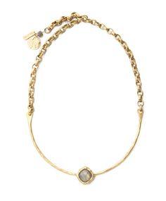 Single Labradorite Stone Brass Necklace