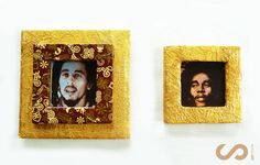 Picture of Decoupage Cardboard Picture Frame / Upcycled / Gold Chocolate Foil