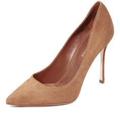 Sergio Rossi Godiva Pumps (1.245 BRL) ❤ liked on Polyvore featuring shoes, pumps, tan, leather pumps, leather footwear, pointed toe pumps, sergio rossi and pointed toe shoes