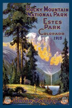 Quilt Block of vintage image printed on cotton. Ready to sew.  Rocky Mountain National Park Set 3. Single 4x6 block $4.95. Set of 4 blocks with pattern $17.95.