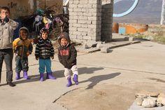 Showing off their new winter boots from Spirit of  America  #ISIS #refugees #Iraq #Kurdistan #SpiritofAmerica #SoA #humanitarian #children #Erbil #boots #nonprofit #winter