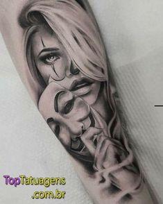 Trendy Tattoo Frauen Unterarm Gesicht Ideas – foot tattoos for women Dope Tattoos, Hand Tattoos, Chicanas Tattoo, Clown Tattoo, Ring Finger Tattoos, Mask Tattoo, Trendy Tattoos, Body Art Tattoos, Small Tattoos