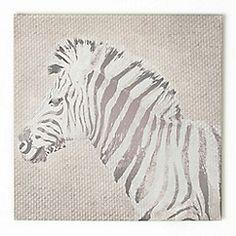 Graham & Brown - Stripes Zebra Animal Neutral Tones Linen Textured Printed Canvas Wall Art