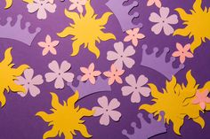 "Tangled Confetti Tangled Party Rapunzel Party by 36 Suns (2"" x 2"") 35 Tiaras (1.6"" x 1"") 48 Small Flower Petals (0.75"" x 0.75"") 31 Big Flower Petals (1"" x 1"") $6.68"