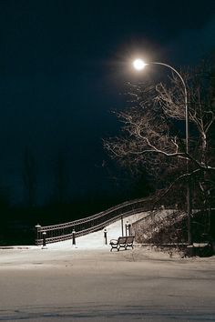 Night time snow landscapes