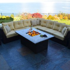 Outdoor Innovation South Beach 12 Piece Fire Pit Seating Group with Cushion