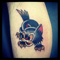 Fernando Lions #traditional #cat #tattoo
