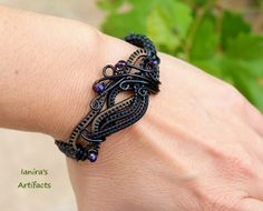 Black wire wrapped leather macrame bracelet by IanirasArtifacts.deviantart.com