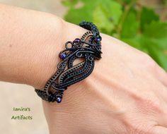 Black wire wrapped leather macrame bracelet by IanirasArtifacts.deviantart.com