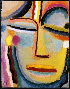 Abstract Head by Alexei Jawlensky - 1922 - oil on cardboard