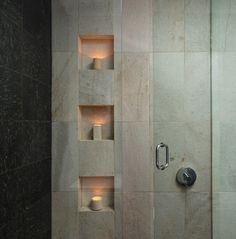 A shower niche is a practical and stylish vessel for all our necessities. A permanent tiled niche not only looks great it won't gather mold as a plastic hanging storage unit can. Modern Bathroom Design, Bathroom Interior Design, Bathroom Designs, Bathroom Ideas, Modern Bathrooms, Hotel Bathrooms, Bad Inspiration, Bathroom Inspiration, Shower Niche