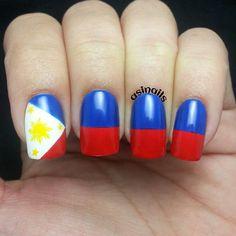 Philippine flag finger nail bling pinoypinay power pinterest philippines by asinails nail nails nailart prinsesfo Images