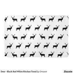 Deer - Black And White Kitchen Towel