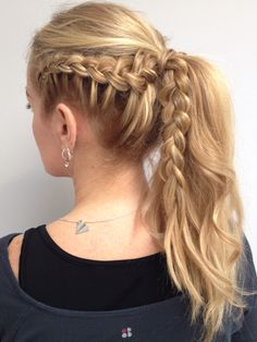 Dutch braid into a messy pony tail #hairstyles