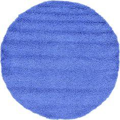 Periwinkle Blue 6' x 6' Solid Shag Round Rug | Area Rugs | eSaleRugs