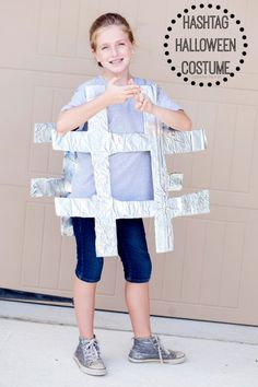 Have some cardboard, tin foil and a pair of scissors? Make a hashtag!!!! Great last minute costume.