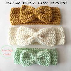 Crochet Headband For Baby Pattern Free Crochet Bow Headwrap Free Free Knitting, Baby Knitting, Knitting Patterns, Crochet Patterns, Crochet Baby Hats Free Pattern, Crochet Designs, Crochet Ideas, Sewing Patterns, Crochet Headband Free