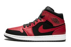 "b20960b6de1 Air Jordan 1 Mid ""Bred"" 554724-054 Air Force Sneakers, Nike Air"