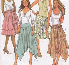 Butterick 4520 Fast and Easy sewing pattern Sizes 16 18 20 22 circular skirt with yoke and hems options