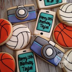 Camera, basketball, volleyball and cell phone birthday party cookies