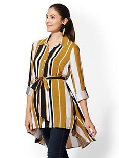 Shop Stripe Hi-Lo Tunic Shirt. Find your perfect size online at the best price at New York & Company.