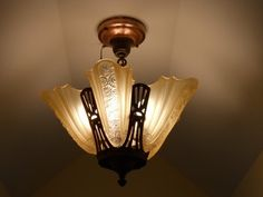 C.20's Art Deco Antique Chandelier Vintage Ceiling light fixture lamp Slip Shade | eBay