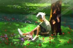 Young Guzma and his best friend.<<This is an amazing piece, just look at the soft colours/colors and the way he touches his Pokémon (i don't know the english name).. I really love it