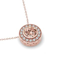 Raven Fine Jewelers - Michael Raven Morganite & Diamond Halo Pendant Necklace 14k Rose Gold - Morganite Jewelry - Morganite Necklaces for Women - Anniversary Gifts for Her - Jewelry Stores Near Me