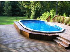 Above Ground Pool Design Ideas With Lawn, Much nicer look than stand alone pool