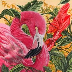 Embellish your home or office with this very attractive Flamingo And Red Flower painting! This is created by Dwight Kirkland who specializes in photo… Flamingo Color, Flamingo Painting, Flamingo Art, Pink Flamingos, Flamingo Drawings, Flamingo Pictures, Pink Bird, Cross Paintings, Pretty Birds