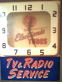 "GE Radio Clock (Vintage 1950 Light Up Advertising Clocks, ""TV & Radio Service"", Bakelite, General Electric Electronic Tubes)"