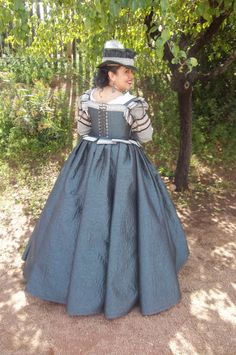 Blue Elizabethan gown, back detail - by Scott Tickler