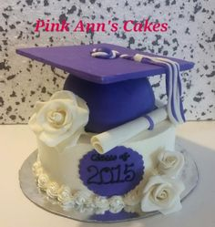 """This was a last minute order. .but I'm happy with how it turned out ..the roses and diploma are fondant and the cap is RKT all on a 3 layer 8"""" chocolate cake iced in vanilla SMBC..thanks for looking! ;-)"""