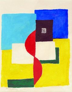 Rhythme Colour, 1958  gouache on paper, signed  16 x 12 inches - Sonia DELAUNAY-TERK