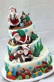 Yummy Santa Christmas Cake Decorating Ideas, 2013 Creative Christmas Food Ideas, How To Decorate Christmas Cake Christmas Cake Decorations, Christmas Sweets, Holiday Cakes, Noel Christmas, Christmas Goodies, Christmas Baking, Christmas Cakes, Xmas Cakes, Christmas Wedding