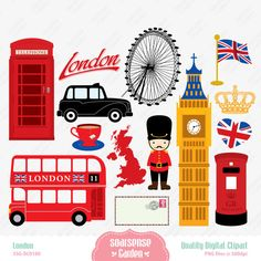 London Digital Clipart England Clipart by SSGARDEN on Etsy, $3.99
