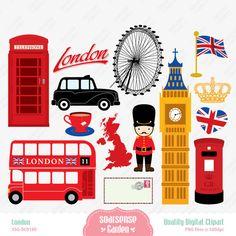 London Digital Clipart England Clipart by SSGARDEN on Etsy, $3.99