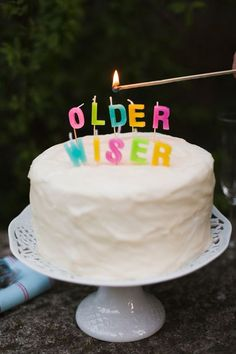 """Cute birthday candles that spell out """"older"""" and """"wiser."""" Fun for a milestone birthday party! Happy Birthday To You, It's Your Birthday, Cake Birthday, Celebrate Good Times, Adult Birthday Party, Festa Party, Party Decoration, Throw A Party, Creative Cakes"""
