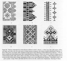 Figure 68. Patterns embroidered in cotton thread on Baluch women's dresses. a. Hapt-rang, blue, pink, green, yellow, red, black, and white with šīša work, part of  a frame design on turquoise silk, Quetta, northern Baluchistan, Pakistan, b. Kōṭrō, blue, green. red, purple, white, and black on dark-green cotton, Mastung, northern Baluchistan, Pakistan, c. Mīrčūk, black on pink and white printed rayon, Sibi, central Baluchistan, Pakistan, d. Ḵām-kārizūrattō with kōṭrō edging, part of a frame…