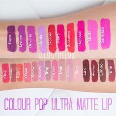 Swatches of colour pop ultra matte lip liquid lipsticks. Available next week online! $6 !!