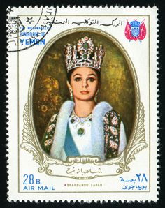 YEMEN - CIRCA 1968 stamp printed by Yemen, shows The Anniversary of the Coronation of the Iranian Emperor and Empress, circa 1968 Qajar Dynasty, Pahlavi Dynasty, Coffee Origin, Farah Diba, Commemorative Stamps, Persian Culture, Stamp Printing, Stamp Collecting, Draco