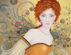 B. K . Lusk Art Nouveau Print Fairy Gold Leaf Silver Goddess Icon Figure Portrait Antonia. $25.00, via Etsy.