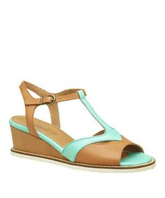 Turquoise & Brown Seshuan Leather T-Strap Wedge by Kickers #zulilyfinds