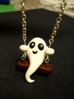GUO GUO'S Handmade polymer clay Ghost on a Swing by GUOCRAFTS, $18.00