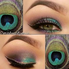 peacock inspired eye make up