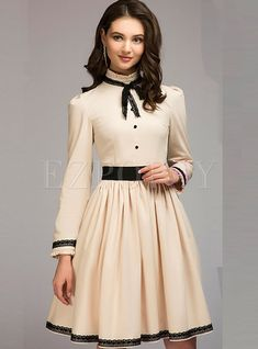 Dresses | Skater Dresses | Brief Beige Tie-neck Bowknot Slim Skater Dress