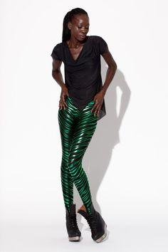 Zebra Green Leggings